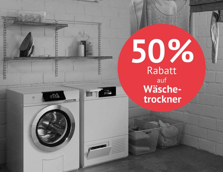 Aktion 50% Rabatt auf Tumbler und Wäschetrockner