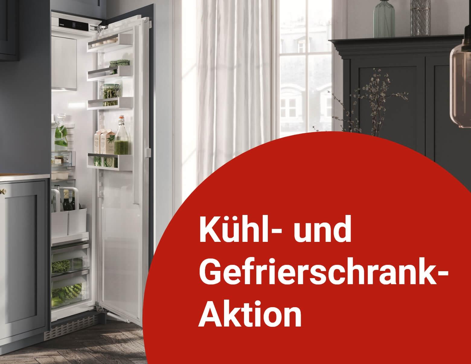 Kühlschrank in Küche mit dem Text Kühl- und Gefriefschrank-Aktion