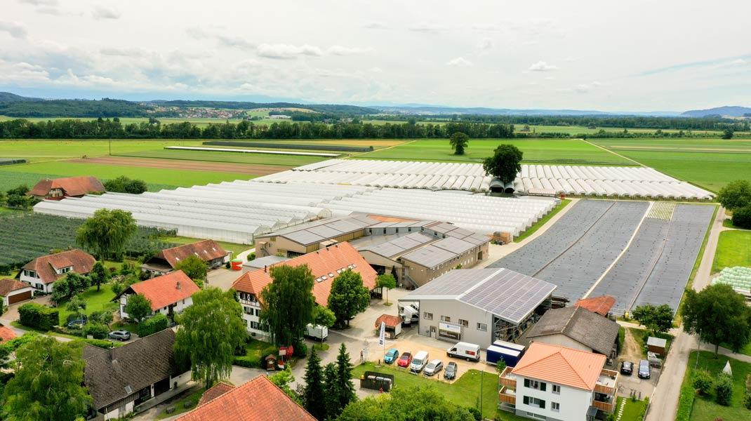 Bauernbetrieb im Berner Seeland mit Photovoltaikanlagen