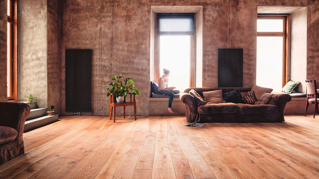 Wohnzimmer mit Curv8 Parkett